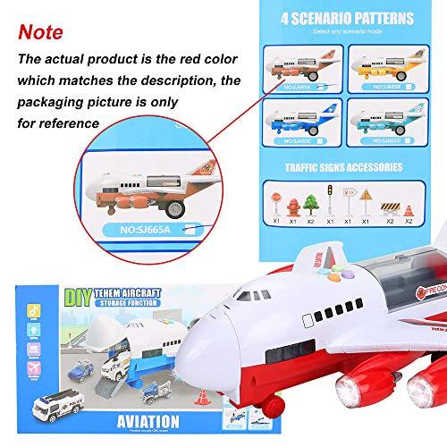 CestMall Trucks Coche Avión Juguetes Juego de extinción de Incendios Transporte Vehículo de Carga, Juguete Educativo Avión electrónico Grande con 6 Coches y 11 señales de tráfico Juego de Juguete de