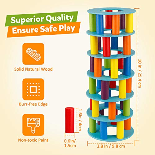 Coogam Juego de apilamiento de Torres de Madera, Bloques de construcción de Habilidades motoras Finas con Dados Que derrumban la Torre Inclinada de Juguete Juegos de Fiesta de la Familia Montessori