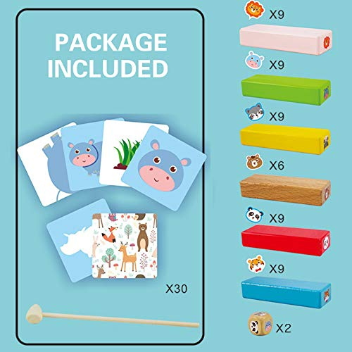 Coriver Animal Toys Tumble Tower Juego de apilamiento de colores con tarjetas de dados, bloques de construcción de madera Jenga, juguetes educativos de aprendizaje para niños pequeños, juego de fiesta