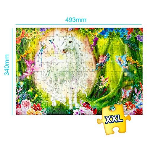 CRAZE Magic Forest 200+ Teile Glitzerdruck und Diamanten-Aufkleber Einhorn-Puzzle für Kinder AB 8 Jahren, 30257 30257-Puzzle de Unicornio para niños a Partir de 8 años Piezas