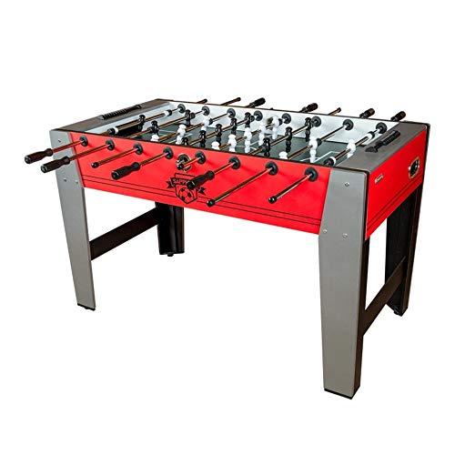Devessport - Futbolín Económico Saphire Red - Gran tamaño - Patas con mayor estabilidad - Barras de metal - Mango de plástico - Retorno de bolas - Con posavasos - Medidas: 139.5 x 74 x 88 Cm