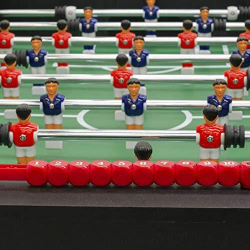 Devessport - Futbolín Salón Negro Ideal para Jugar con Amigos - Profesional - Barras de Metal - Mango de plástico - Retorno de Bolas - Dispone de marcadores - Medidas: 140 x 74 x 88 Cm