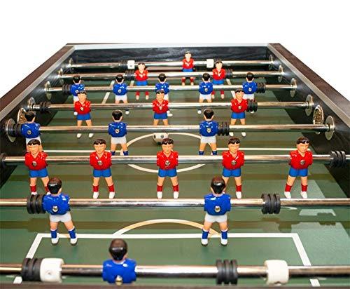 Devessport - Futbolín Silver con Jugadores de piernas Abiertas - Gran tamaño - Profesional - Barras de Metal - Mango de plástico - Retorno de Bolas - con Posavasos - Medidas: 139 x 73 x 87 Cm