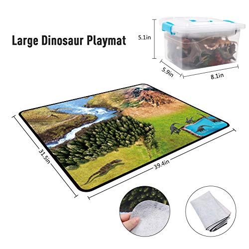 DigHealth 33 Pcs Dinosaurios Juguetes, Figura de Dinosaurios con Tapete de Juego y Arboles, Incluir T-Rex, Triceratops, Pterosauria para Niños …