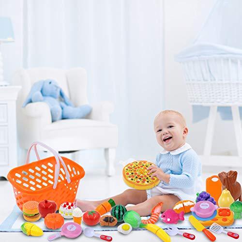 DigHealth 34 Piezas Alimentos de Juguete, Corte de Frutas y Alimentos Falsos, Cortar Frutas Verduras, Temprano Desarrollo Educación Juegos para Niños