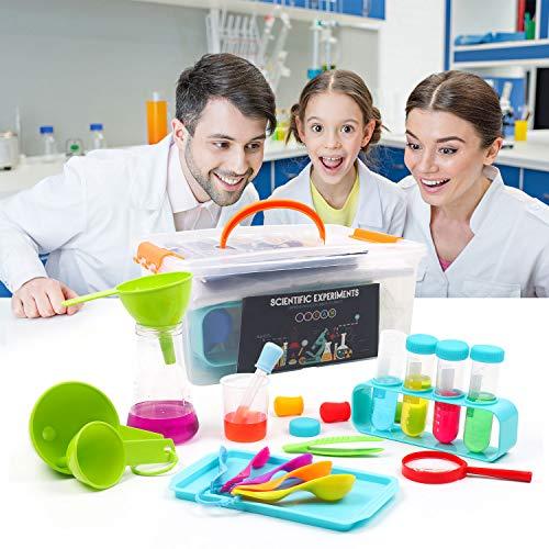 DigHealth LaboratoriodeQuimica, KitCienciasNiños con Bata de Laboratorio, JuguetesEducativos con Caja de Almacenaje para Niños Niñas de 5-11 años