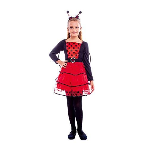 Disfraz Mariquita Niña Vestido Tutú Alas y Antenas Lunares【Tallas Infantiles 3 a 12 años】[Talla 7-9 años] Disfraz Niña Carnaval Animales Insectos Actuaciones Obras Teatro Desfiles Fiestas Disfraces