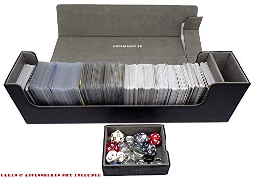 docsmagic.de Premium Magnetic Tray Long Box Black Large - Card Deck Storage - Caja Juegos Des Cartas Negra