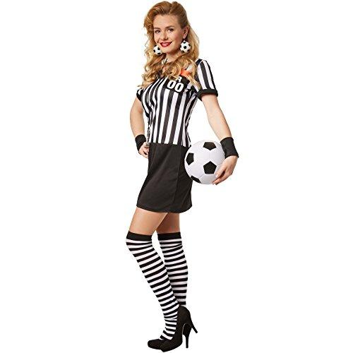 dressforfun Disfraz para mujer Árbitro   Vestido Stretch con muñequeras negras y medias hasta las rodillas (L   no. 301801)