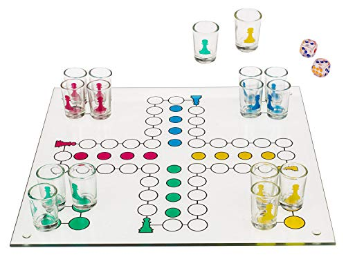 DRINKINGLUDO - Juego de mesa de beber chupitos Parchís Ludo, 31 x31cm