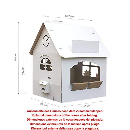 EcoEdu House Casa de cartón, la gran casa de cartón para niños, casa de juegos para jugar y pintar, la gran casa infantil plegable es un juego infantil común y creativo para jugar con los padres