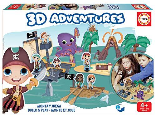 Educa Borrás-3D Adventures Playset, construye tu Universo 3D de Piratas, Juego Educativo para niños, a Partir de 4 años, Color variado (18227) , color/modelo surtido