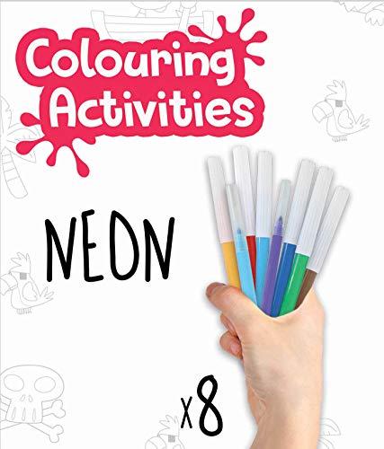 Educa- Colouring Activities Puzzle de 100 Piezas para Colorear Piratas Neón, a Partir de 4 años (18070)
