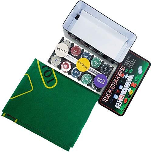 EUROXANTY® Set de Póker y Blackjack | Resistente Caja de Metal + Tapete de Juego | Fácil de Transportar