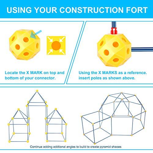 EXTSUD Juguetes de Construir Fortalezas, Juguetes de Construcción de Castillo DIY Plástico 90 Piezas Juguetes Educativos para Niños Mayores de 3 Años