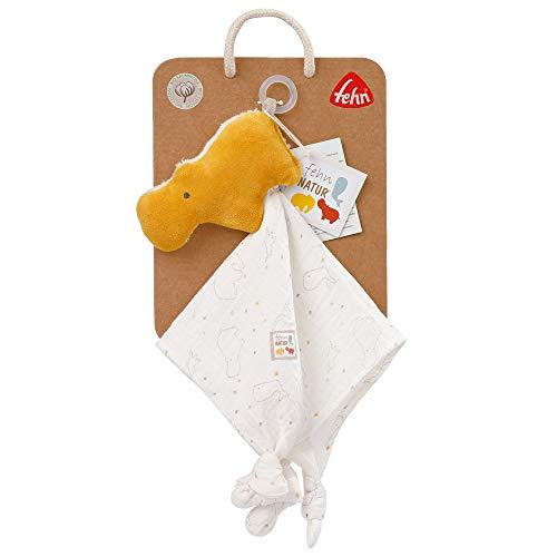 Fehn 056051 – Manta de peluche de hipopótamo, natural, de algodón orgánico certificado (kbA) con fijación para chupete para bebés y niños pequeños a partir de 0 meses