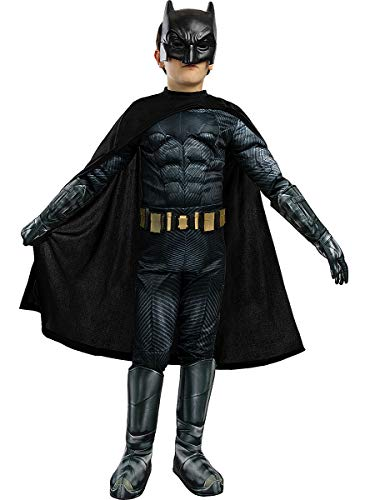 Funidelia | Disfraz de Batman Deluxe - La Liga de la Justicia Oficial para niño Talla 7-9 años ▶ Caballero Oscuro, Superhéroes, DC Comics, Hombre Murciélago - Multicolor