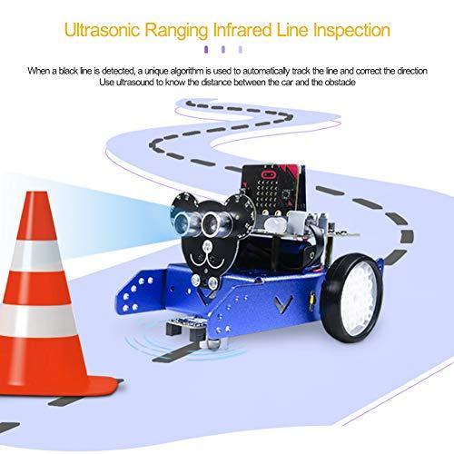 FXQIN Robot de Programación Educativa Inteligente, Evitación de Obstáculos Ultrasónica, Programación de Gráficos Python, Infrarrojos/Bluetooth, Kit de Robot de Coche para Niños y Adolescentes