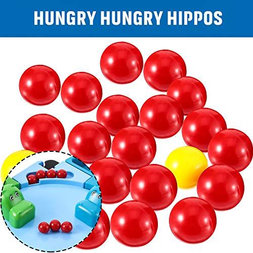 Gejoy 42 Piezas de Canicas de Reemplazo de Juego 2 Conjuntos de Bolas de Reemplazo de Juego Compatibles con Hipopótamos Hambre Hambre, 38 Bolas Rojas y 4 Bola Amarillas