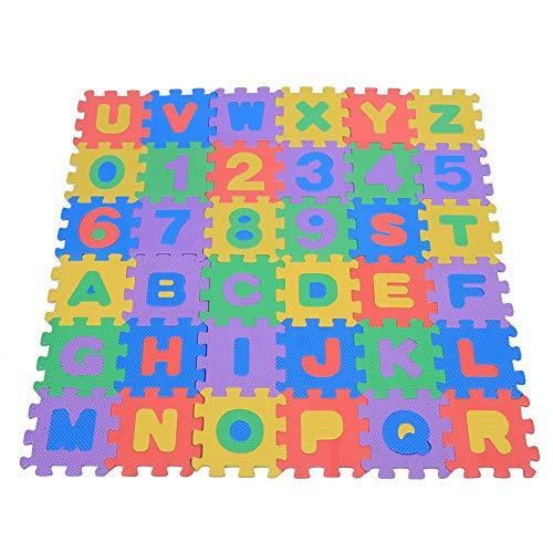 Gerioie Alfombra de Espuma, tapete de Espuma Eva, tapete para niños con Letras de números, Suave y liviano para Gatear para Jugar
