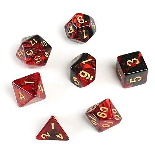 GWHOLE 7 Piezas Dados Poliédricos Dados para Juegos de rol y Mesa Dungeons y Dragons DND RPG MTG con Bolsa Negra ( Rojo Negro)