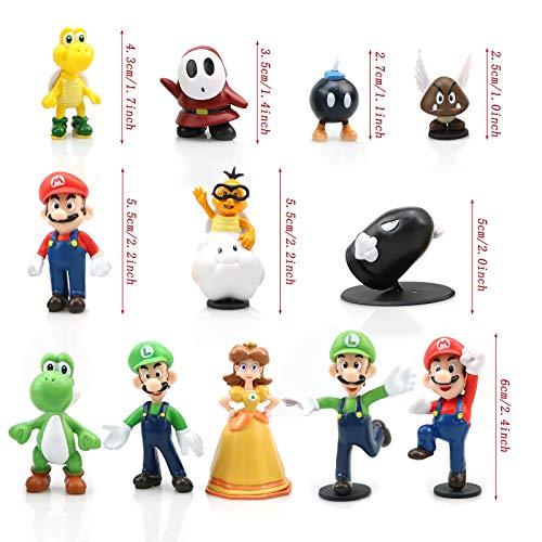 Gxhong Super Mario Cake Topper Mini Juego de Figuras Set Super Mario Bros Toys Decoración de Pastel de Cumpleaños Caricatura Figura de Acción Regalo Suministros para Niños 12 Piezas
