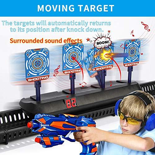 HahaGo Objetivo Digital electrónico móvil para Pistolas Nerf, Restablecimiento automático de Objetivos de Disparo Digitales eléctricos con luz y Sonido Puntuación automática para Juegos de niños