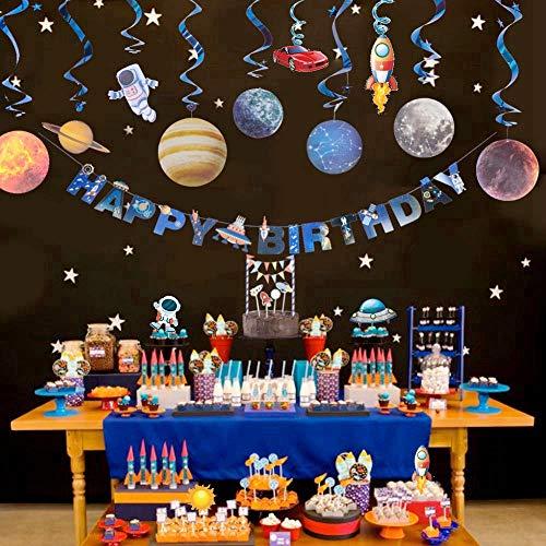 Haosell - Decoración para cumpleaños infantiles, sistema solar para colgar en el techo con pancarta de feliz cumpleaños, sistema solar, diseño de astronautas, espirales y decoración de pasteles