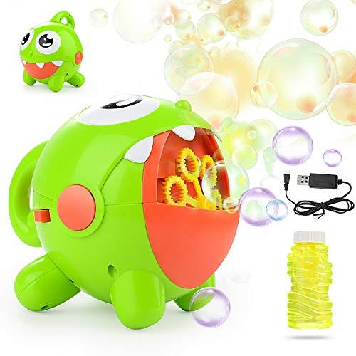 HellDoler Máquina de Burbujas,Juguete de Baño para Bebé,Soplador de Burbujas Automático con Carga USB con 1 Botella de Líquido para Niños,Fiestas de Cumpleaños,Bodas,Juegos de Interior y Aire Libre