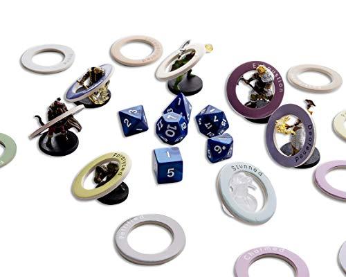 Hexers Marcadores de estado RPG, Recorrido de efectos de condiciones con anillos simples, compatible con mazmorras y dragones D&D DND Pathfinder juego de rol, 80 piezas, borrado en seco personalizable