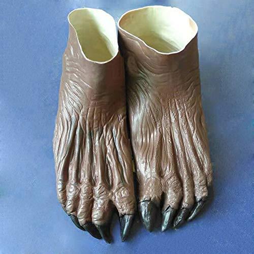 HoaJeo Hombre Lobo Fantasma Manos Guantes/Pies Zapatos Halloween Adulto Baile Fiesta Disfraz Guantes Suministros - Pies