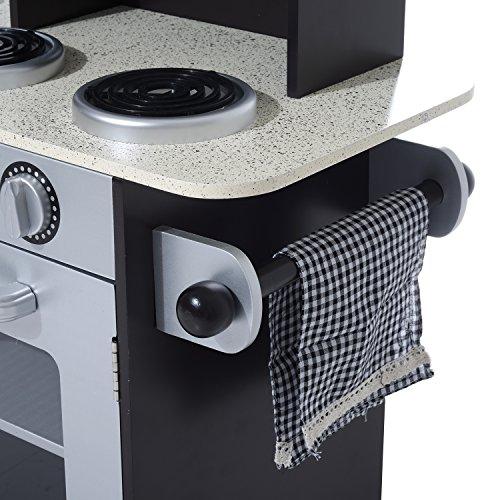 HOMCOM Cocina de Juguete Cocinita Infantil Madera Grande Juego de Imitación para Niños +3 Años con Accesorios Horno Microondas Fregadero 105x31.5x95cm