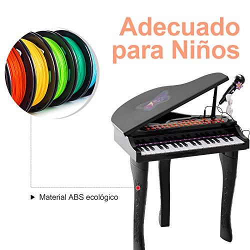 HOMCOM Piano Infantil 37 Teclas Teclado Electrónico Juego de Piano con Micrófono Taburete Luces y 22 Canciones USB/MP3 Karaoke Modo de Enseñanza Negro