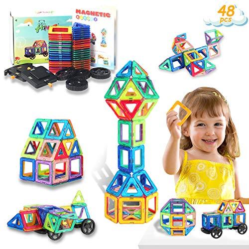 HOMOFY Bloques de Construcción Magnéticos para niños- 48 Piezas Juego de Juguetes Magnéticos Conjunto de Bloques de Construcción para 3 4 5 6 7 8 Años, Juguetes Magnéticos Educativos para Niñas Niños