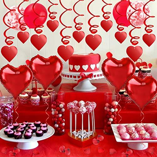 HOWAF Set de Deco para el Día de San Valentín, Globos Corazon Rojo, Pétalos de Rosa, Remolinos en Forma de Corazón Rojo para Bodas Nupcial Aniversario y Compromiso Decoración Día de La Madre