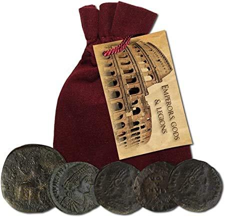 IMPACTO COLECCIONABLES Monedas Antiguas - Colección de 5 Monedas de Emperadores, Dioses y legiones