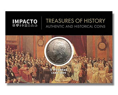 IMPACTO COLECCIONABLES Monedas Antiguas - España 5 Pesetas de Plata 1892/94. Alfonso XIII. El Bucles