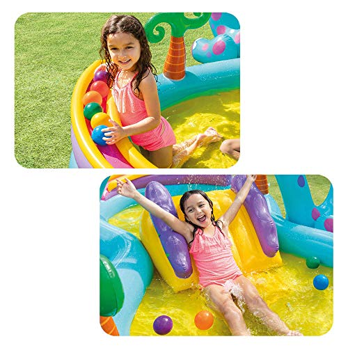 Intex-57135NP Dinoland Play Center-Centro de juegos acuático hinchable, modelo surtido (con y sin volcán), multicolor, 333x229x112 cm-280 Litros (57135NP)