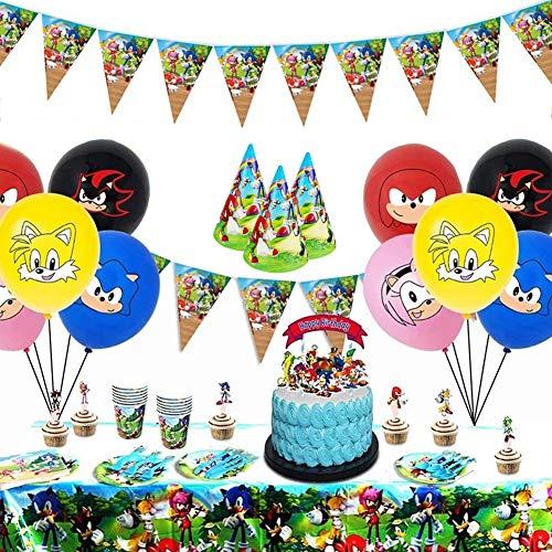 INTVN 88 Piezas Sonic The Hedgehog Party Supplies Juego de decoración Suministros de Fiesta Sonic Party Vajilla Paquetes Incluye Flatwares, Tazas, manteles, servilletas, pancartas para 10 niños