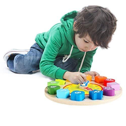 Jacootoys Forma de madera que clasifica el juguete del reloj con el juego educativo del número y de la forma para los niños