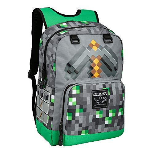 JINX Minecraft Emerald Survivalist - Mochila escolar para niños, verde, 43 cm