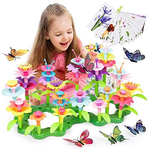Joyjoz Juguetes de Construcción para Jardín de Flores - Juguetes de Jardinería Simulada, Regalo de Fantasía para Niños, Juegos de Ramilletes de Bricolaje, Juguetes Educativos para Niñas, (123 Piezas)