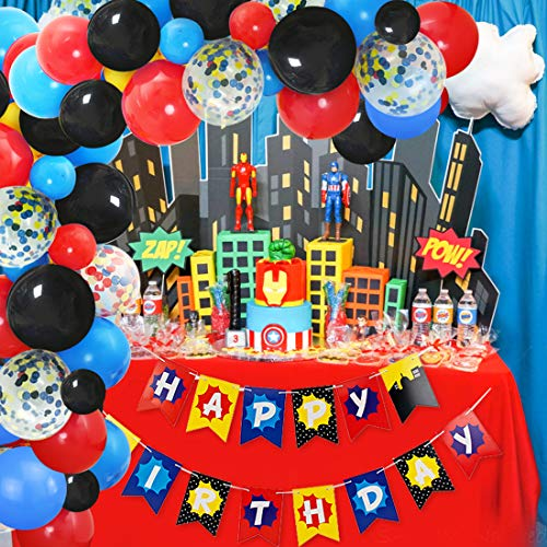 JOYMEMO Superhero Theme Balloon Garland & Arch Kit Happy Birthday Banner 110 Pack Balloons Red Blue Black Yellow for Baby Shower Birthday Party Decorations