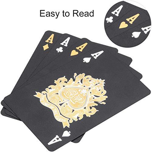 joyoldelf - Baraja Poker Negro, Baraja de Cartas de Póquer con Patrón de Celosía Impermeable, Juegos con Caja, 54 PCS / Cartas Poker, Cartas de Póquer Mágicas, Fiestas y Juegos