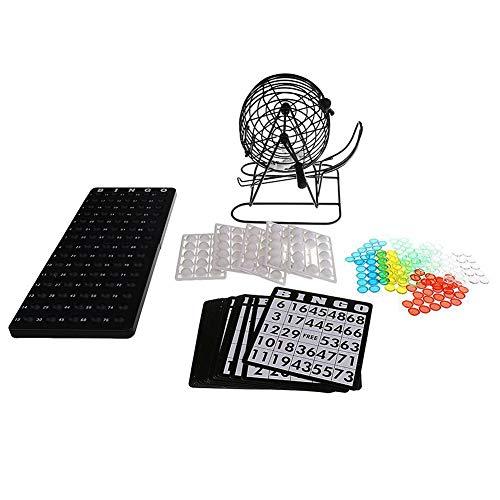 Juego de Bingo de Jaula: Jaula de Metal de 8 Pulgadas con Placa Maestra de plástico, 75 Bolas de Bingo Multicolores, cartones de Bingo y fichas de Bingo, Juego de Bingo para Grupos Grandes