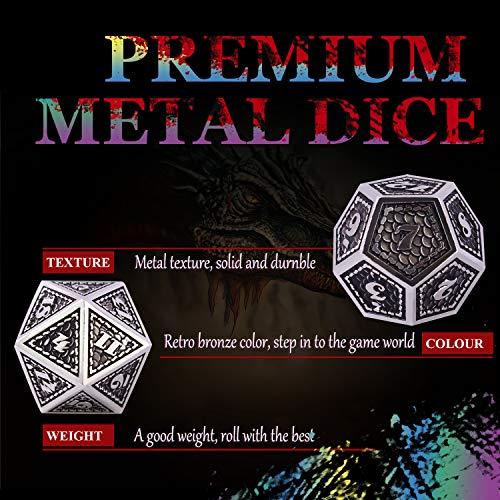 Juego de Dados de rol, Poliédricos Dice de Metal Set de Dados D&D de Juego de rol DND para RPG Dungeons and Dragons Juegos de Mesa Enseñanza de Matemáticas (Bright Silver - Black)