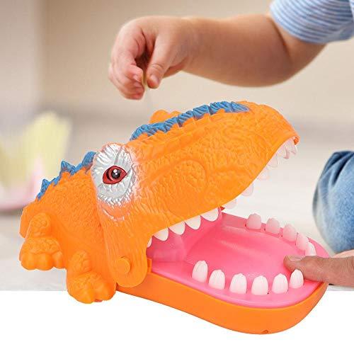 Juego de Dedo de morder Dinosaurios, Caricatura portátil Bromas prácticas Hipopótamo Boca Mordida Juego de Dedo con Sonido y luz Juego de Mesa para niños(Orange)