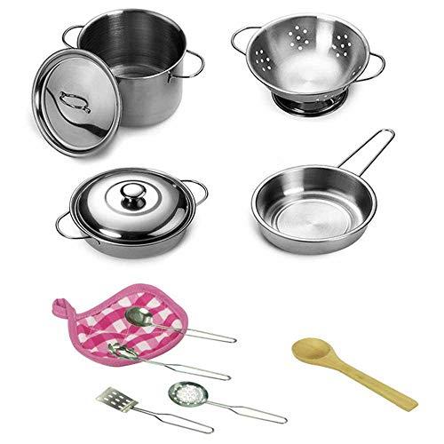 Juego de ollas y sartenes de cocina Teepao, juego de cocina para niños con acero inoxidable, utensilios de cocina, juguetes para niños
