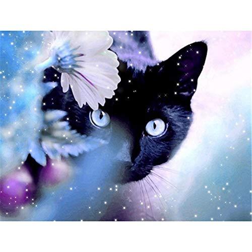 Juego de pintar por números, para adultos, niños, principiantes, 16 x 20 pulgadas – gatos flores (sin marco)