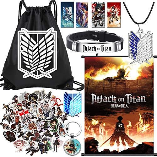 Juego de regalo Attack On Titan con bolsa de regalo, collar y llavero, botón 4 tarjetas Lomo, 50 pegatinas para adolescentes, niñas, niños (negro)